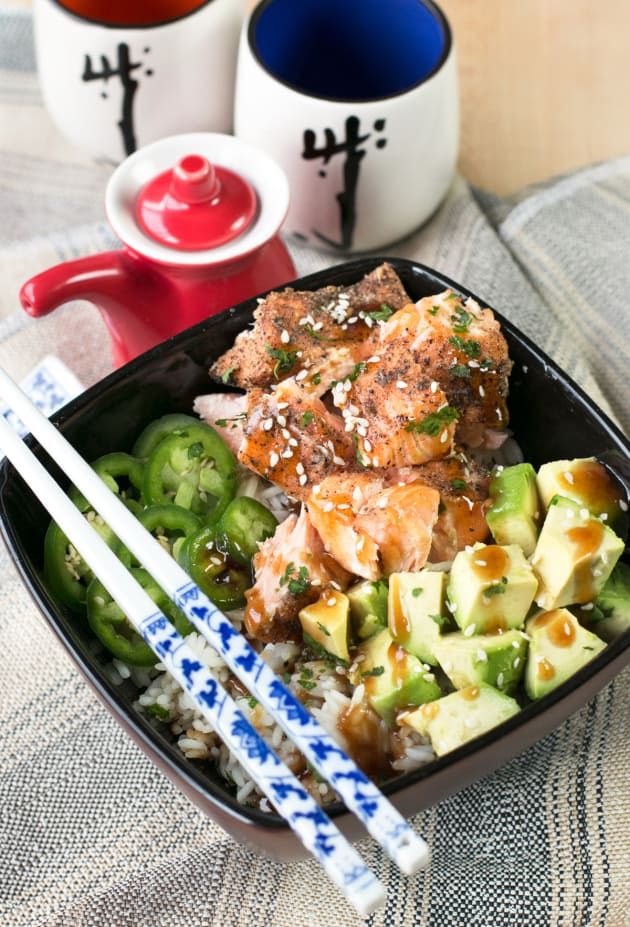 Spicy Sesame Salmon Avocado Bowls Picture