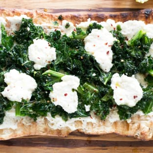 Grilled lemon kale ricotta flatbread photo