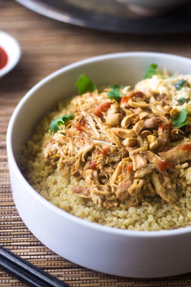 Crockpot Thai Peanut Chicken Quinoa Bowls Picture