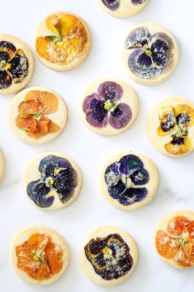 Orange Cookies with Edible Flowers Recipe