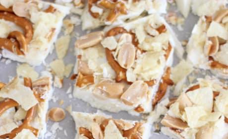 Caramel Pretzel Salted Peanut Potato Chip Bark Picture
