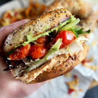 Everything avocado turkey bagel sandwiches photo