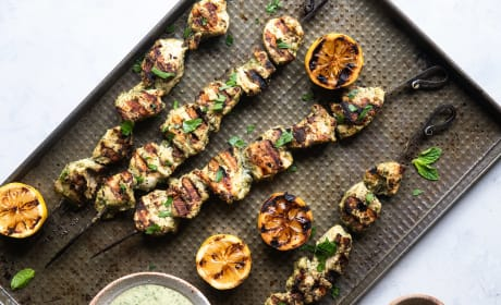 Grilled Herb Hummus Chicken Kebabs Photo