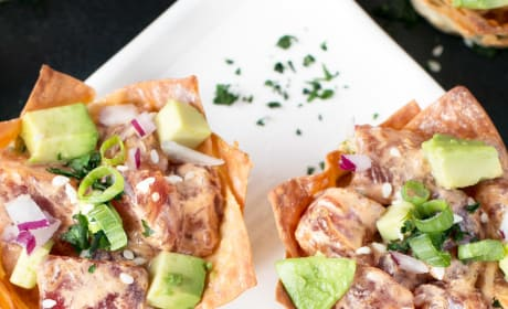 Spicy Tuna Poke and Avocado Wonton Cups Picture