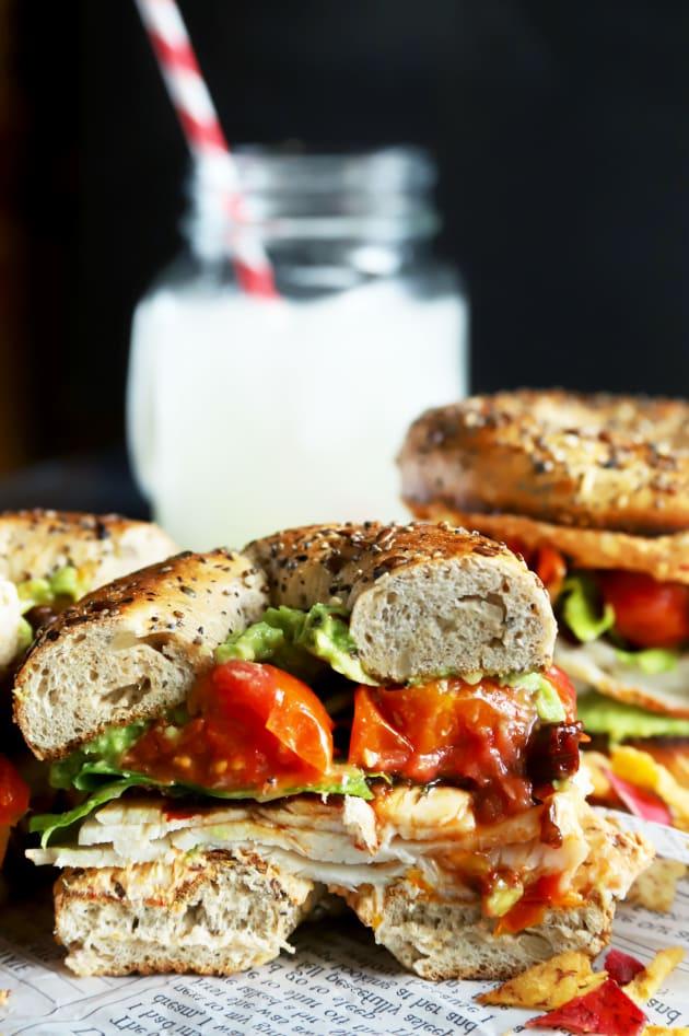Everything Avocado Turkey Bagel Sandwiches Image