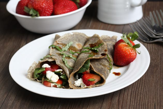 Strawberry Spinach Buckwheat Crepes Image