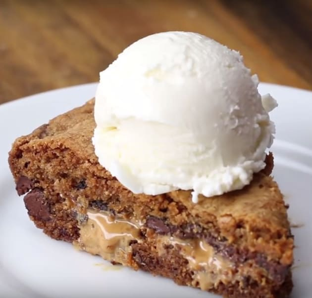 Peanut Butter Stuffed Skillet Cookie with Ice Cream
