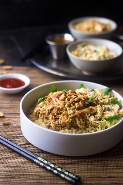 Crockpot Thai Peanut Chicken Quinoa Bowls Image