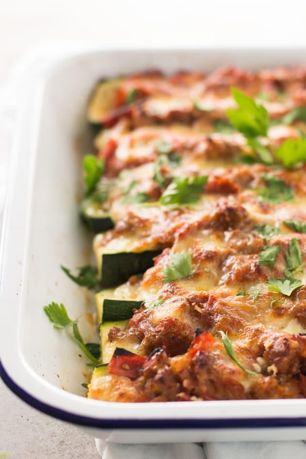 Italian Sausage Stuffed Zucchini Boats Image