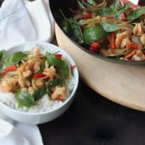 Stir fried prawns with chilli and Thai basil