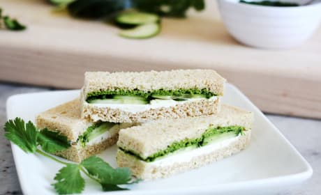 Cucumber and Mint Cilantro Chutney Tea Sandwiches Recipe