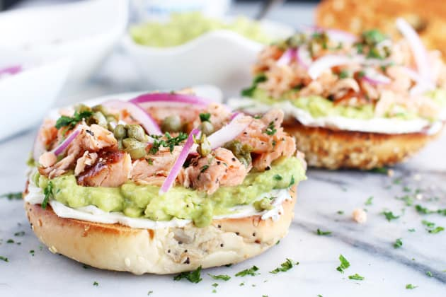 Smoked Salmon Avocado Cream Cheese Bagel Photo