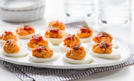 Harissa Goat Cheese Deviled Eggs