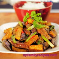 Stir Fry Tofu Eggplant Recipe (Cà Tím Xào Đậu Hũ)