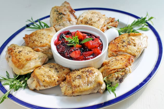 Pan Roasted Chicken with Peach Blueberry Sauce Photo