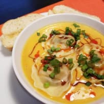 Creamy Butternut Squash Soup with Ravioli
