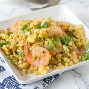 Shrimp fried cauliflower rice photo