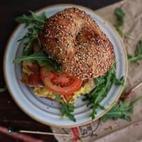 Bacon and Eggs breakfast Bagel Sandwich