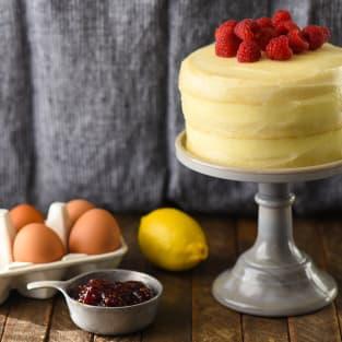 Lemon raspberry cake for two photo