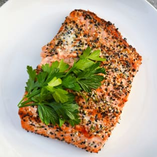 Roasted salmon with everything bagel spice photo