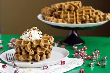 Gingerbread Waffles For Warm Winter Breakfast