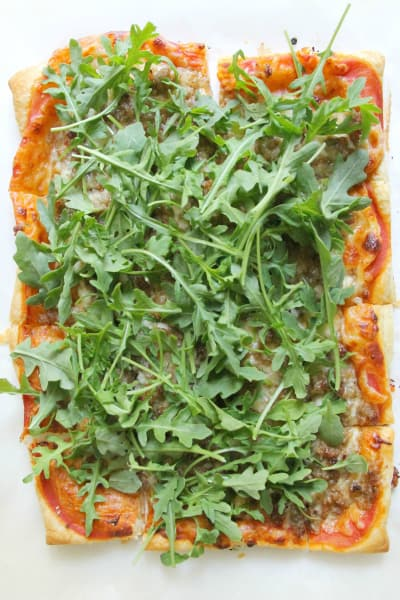 Puff Pastry Sausage and Arugula Pizza Pic