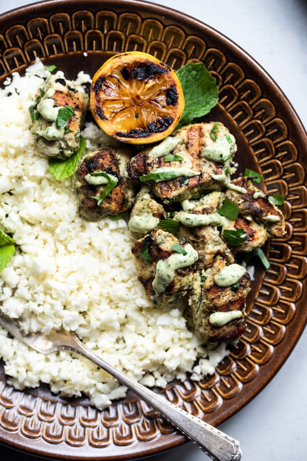 Grilled Herb Hummus Chicken Kebabs Picture