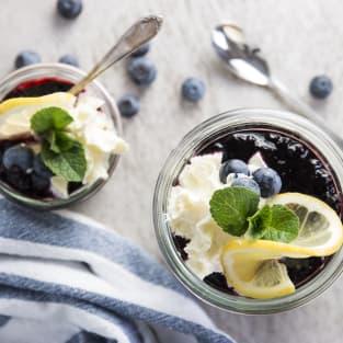 Lemon blueberry no bake cheesecakes photo