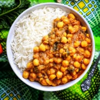 Spicy Chickpea Curry with rice