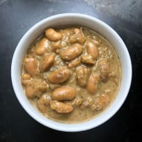 White Emergo Beans with Mustard, Caramelized Onions, and Herbes de Provence