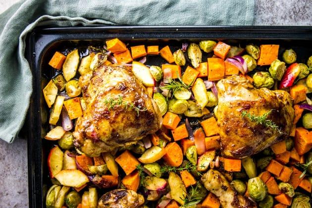 Balsamic Glazed Chicken and Winter Vegetable Sheet Pan Dinner Photo