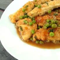 Chicken Tender Marsala with Peas