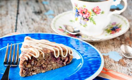 Banana Oatmeal Cake with Berries