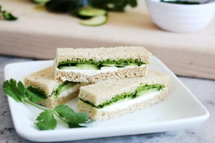 Cucumber and Mint Cilantro Chutney Tea Sandwiches