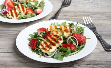 Grilled Halloumi Strawberry Salad Recipe