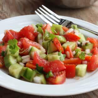 Cucumber tomato salad photo