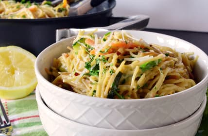 Creamy Vegetable Spaghetti Primavera: Buon Appetito for Meatless Monday