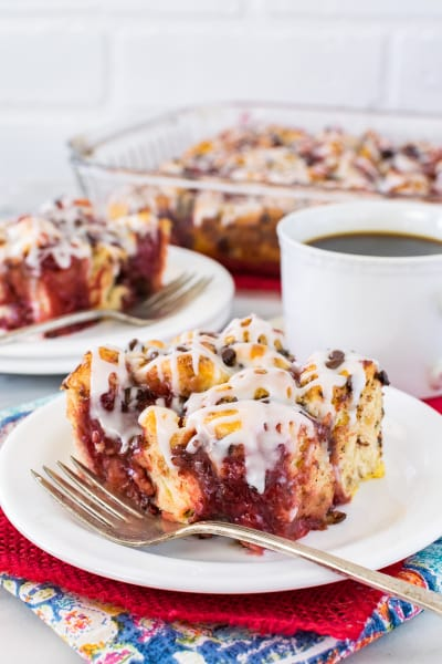 Strawberry Chocolate Cinnamon Roll Bake Image