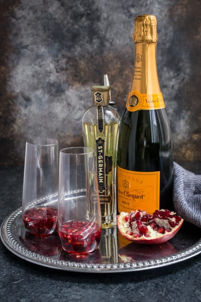 St. Germain and Pomegranate Champagne Cocktail Picture