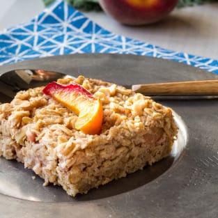 Baked peach oatmeal photo