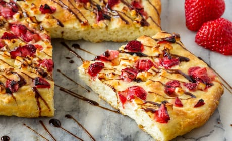 Easy Focaccia with Strawberries and Feta Photo