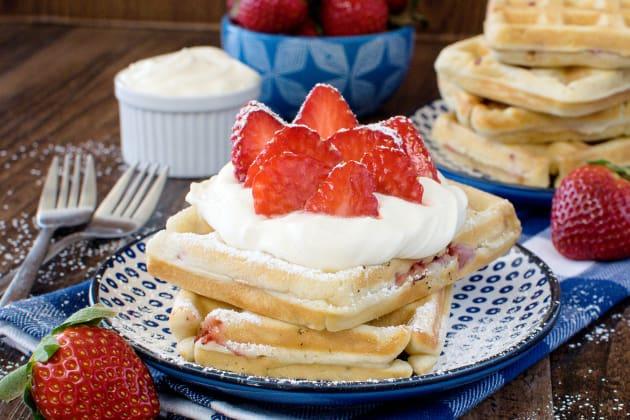 Homemade Strawberry Waffles Photo