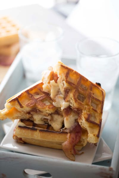 Apple Butter Bacon Waffle Sandwich Image