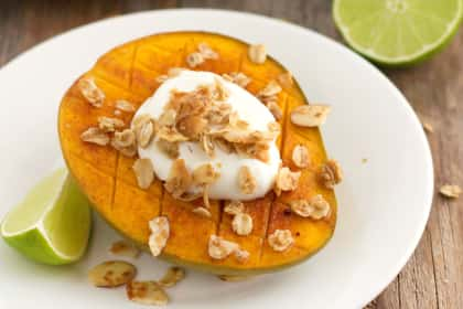 Broiled Mango with Greek Yogurt