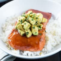 Sriracha Glazed Salmon with Asian Avocado Salsa Recipe