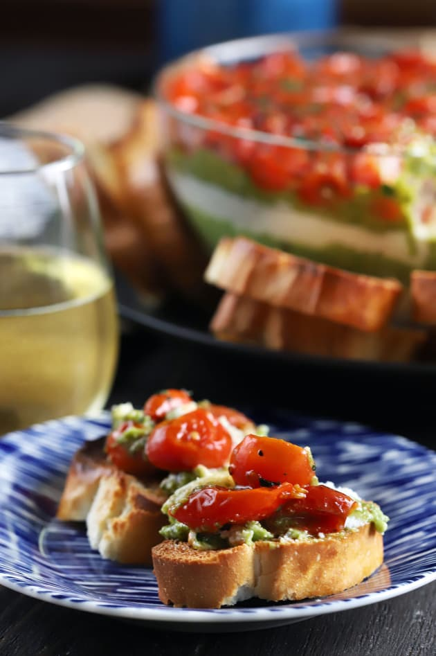 Avocado Ricotta Tomato Pesto Layer Dip Image