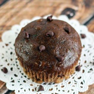 Chocolate zucchini muffins photo
