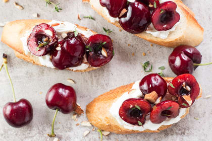 Cherry Goat Cheese Crostini with Thyme and Almonds
