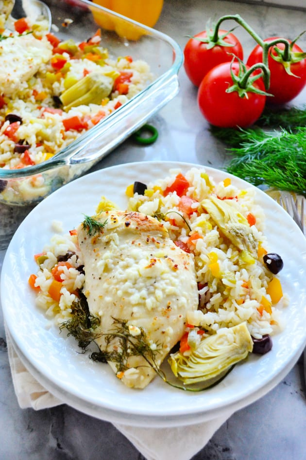 One Pan Greek Chicken and Rice Image