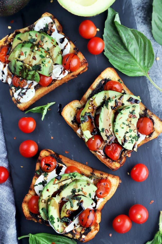 Grilled Open-Faced Avocado Caprese Sammies Image